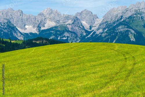 Fotobehang Pistache Wilder Kaiser vom Rettenberg