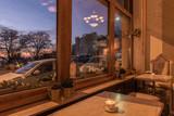 Scenic view at nightfall through window of luxury restaurant - 199492681