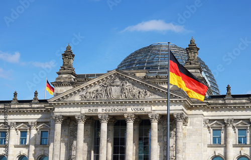 Leinwandbild Motiv German Flag Waving Bundestag Berlin Germany