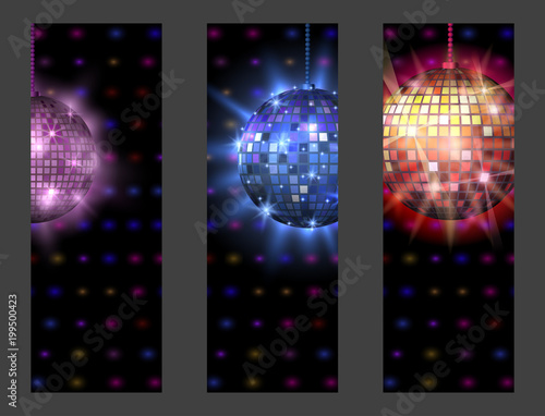 Disco ball discotheque card music party night club dance equipment vector illustration. - 199500423