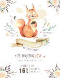 Cute watercolor bohemian baby squirrel animal poster for nursary, alphabet woodland isolated forest illustration for children. Baby shower animals invitation - 199501621