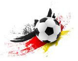 Fototapety Fußball mit Deutschland Flagge Farben Pinsel Striche