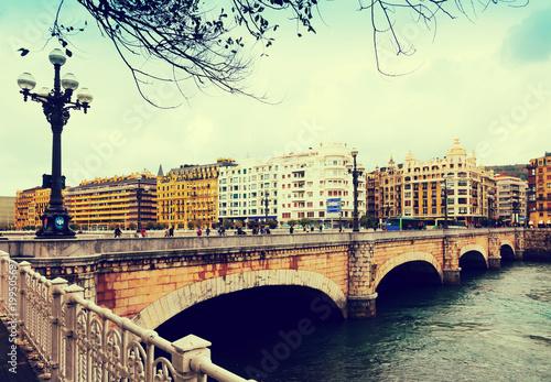 Obraz na płótnie Santa Catalina Most nad Urumea rzeki. Sant Sebastian