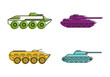 Tank icon set, color outline style