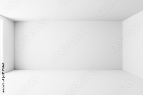 Pusty biały wewnętrzny izbowy tło, pusty biały ściana kąt i biała drewniana podłogowa rówieśnik, 3D rendering
