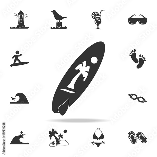 Surfboard icon. Detailed set of beach holidays icons. Premium quality graphic design. One of the collection icons for websites, web design, mobile app