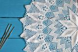 White Lace Crochet Doily Background - 199511425