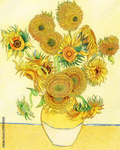 Van Gogh Sunflower adult coloring page © Rawpixel.com