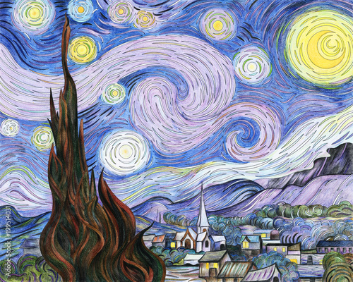 Van Gogh The Starry Night adult coloring page - 199514031