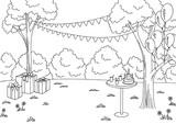 Children party graphic black white landscape sketch illustration vector  - 199523862