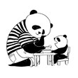 Father panda in black and white t-shirt feeding his little son panda.