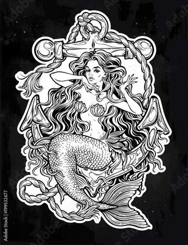 Beautiful mermaid girl with vintage anchor.
