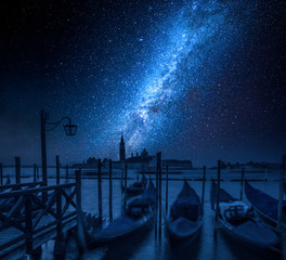 Grand Canal in Venice and milky way, Italy