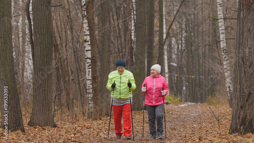 Sport dla starszych kobiet w jesiennym parku - nordic walking wśród parku jesienią