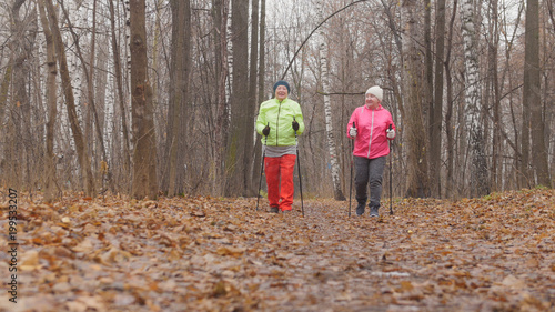 Two senior women in autumn park have nordic walking among autumn cold park - rear view