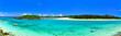 真夏の宮古島。伊良部島と下地島の間の水路の景観(パノラマ)