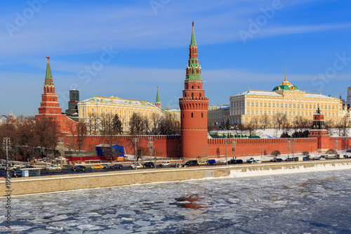 View of the Moscow Kremlin on a sunny winter morning