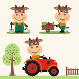 Set of funny bull farmer with shovel, with wheelbarrow with vegetables, in farm tractor. Collection of bull is working on the farm.