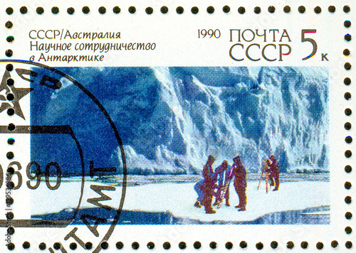 Fotobehang Antarctica Ukraine - circa 2018: A postage stamp printed in USSR show Glaciology and the inscription USSR-Australian Scietific Cooperation in Antarctica. Series: Joint issue of USSR and Australia. Circa 1990.