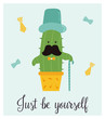Bright card with cute smiling cactus and quote