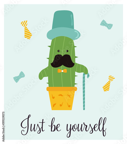 Bright card with cute smiling cactus and quote - 199539073