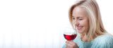 Closeup portrait of female customer drinking red wine with eyes closed. - 199543216