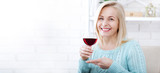 Closeup portrait of female customer drinking red wine with eyes closed. - 199543224