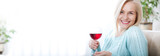 Closeup portrait of female customer drinking red wine with eyes closed. - 199543239
