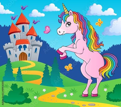 Poster Voor kinderen Standing unicorn theme image 4