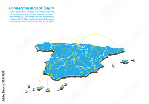 Modern of spain Map connections network design, Best Internet Concept of spain map business from concepts series, map point and line composition. Infographic map. Vector Illustration.