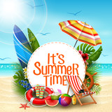 It's summer time banner design with white circle for text and beach elements in sand beach background - 199550265