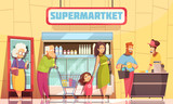 Queue People Supermarket  - 199552870