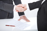 Business handshake. Two business women shake hands with each other to sign a successful deal - 199559224