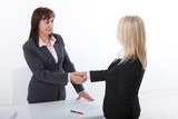 Business handshake. Two business women shake hands with each other to sign a successful deal - 199559248