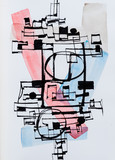 An Abstract Caligraphic Design; Blue, Grey and Red. - 199562677
