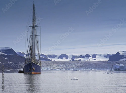 Plexiglas Zeilen sailing ship in arctic sea with copy space