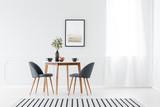 Dining furniture in minimalist interior - 199564803