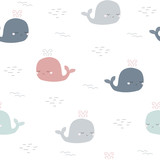 Childish seamless pattern with cute whale. Vector hand drawn illustration. - 199569229