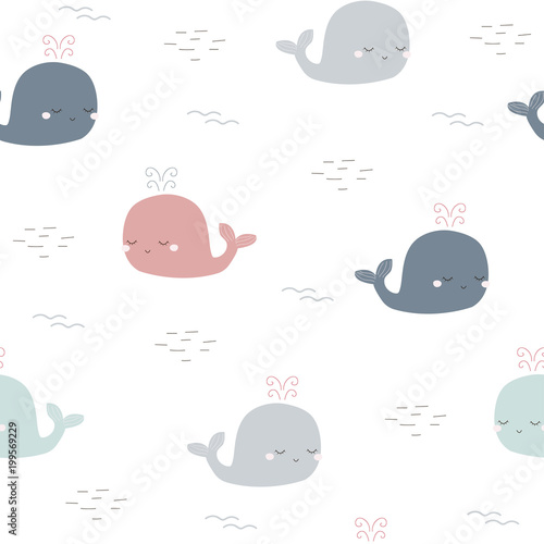 Childish seamless pattern with cute whale. Vector hand drawn illustration.