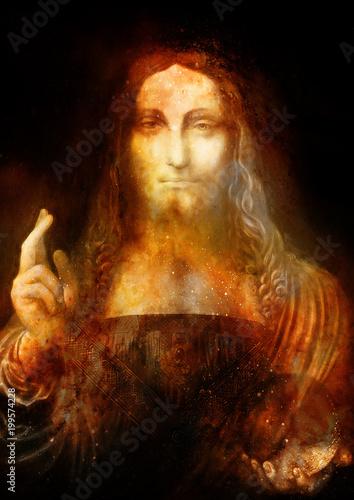 Saviour of the world. Salvador mundi. My own reproduction of Leonardo DaVinci painting. Cosmic space collage.