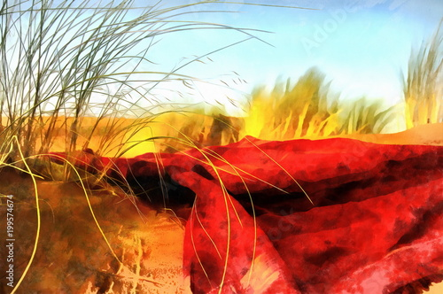 bright red blanket on desert with wild grass, computer effect.