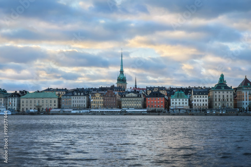 Foto op Canvas Stockholm Cityscape of Gamla Stan in Stockholm, Sweden, at sunset.
