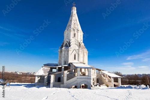 The Church of the Ascension 16th century in former Royal estate Kolomenskoye. Moscow, Russia.