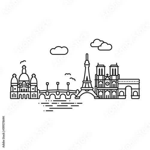 Paris cityscape line icon style vector illustration