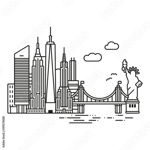 New York City cityscape  line icon style vector illustration
