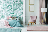 Pink and green feminine interior