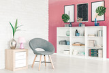 Modern grey chair in apartment