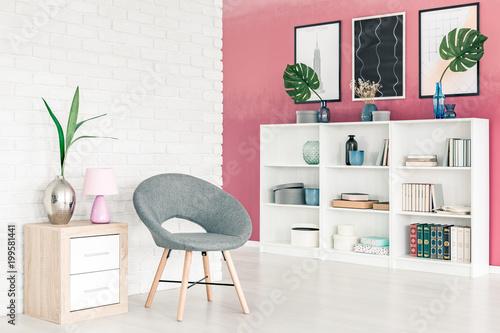 Modern grey chair in apartment - 199581441