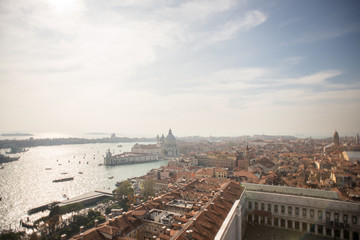 Venice. Aerial view of the Venice with Basilica di Santa Maria della Salute