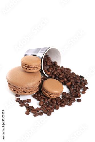Fotobehang Macarons macaron au café